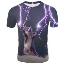Drop Shipping Men Cool Cat With Sunglasses 3D Print Shirt Wh