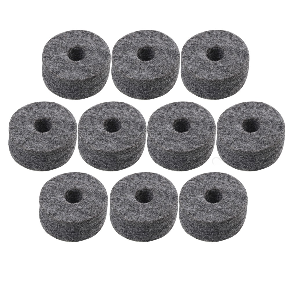 Yibuy 4cm Dia Black Round Soft Felt Washers Cymbal Stand Replacement With 1.5cm Thickness For Drum Kit Set Pack Of 10