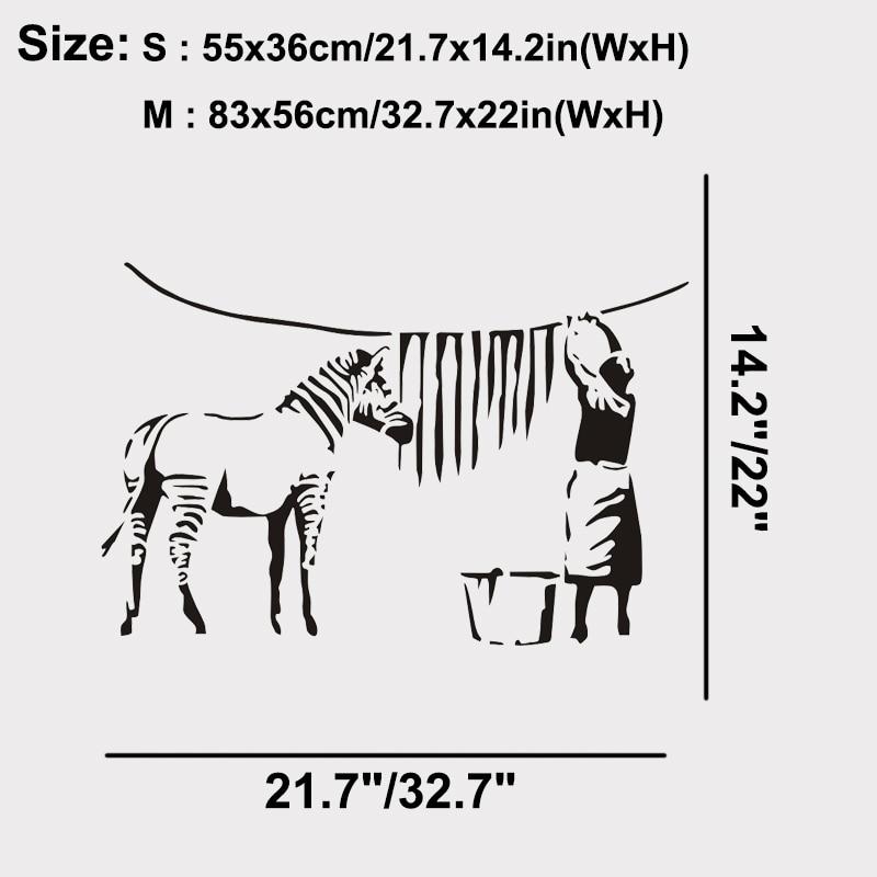 Banksy Graffiti Tahan Zebra Jalur Pelekat Dinding Vinil Besar Pelekat - Hiasan rumah - Foto 5