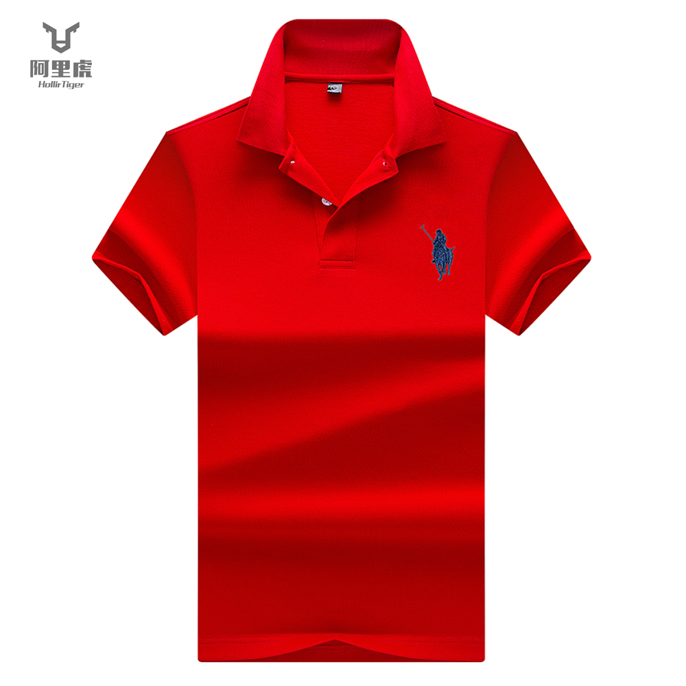 Hollirtiger   polo   shirts for mens   Polos   Men Cotton Short Sleeve shirt Tipped   polo   collar Clothes Big Size XXXL Solid jerseys