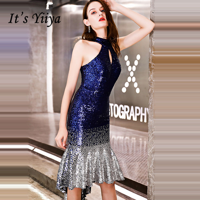 It's Yiiya   Prom     Dresses   Shiny Sequin Halter Backless Girls Sleeveless Trumpet Knee-length Party Gowns Formal   Dresses   LX1305