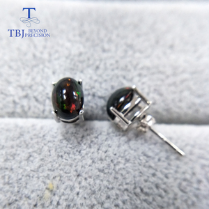 Image 2 - TBJ,natural Top quality black opal earrings S925  silver yellow gold simple design for women daily wear gift
