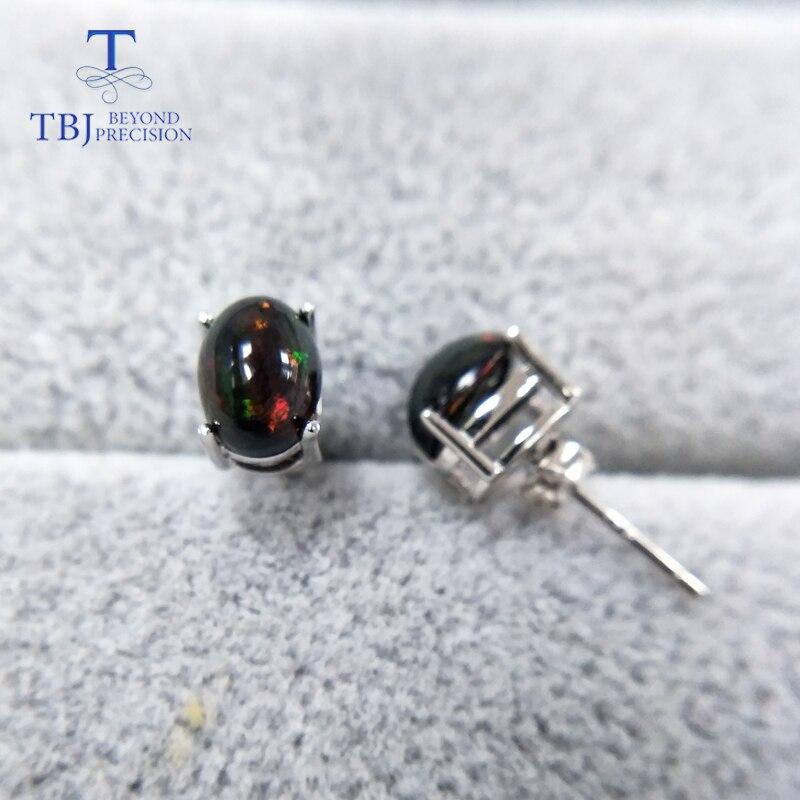 TBJ, naturel Top qualité noir opale boucles d'oreilles S925 argent jaune or design simple pour les femmes vêtement quotidien cadeau-in Parures de bijoux from Bijoux et Accessoires    2