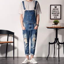 Aberdeen Fengpo hole cowboy pants nine men youth feet font b Jumpsuit b font overalls slim