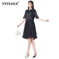 VITIANA Women Casual Dress Summer Lace Plus Size 7XL Black Red Short Sleeve Office Work Dresses
