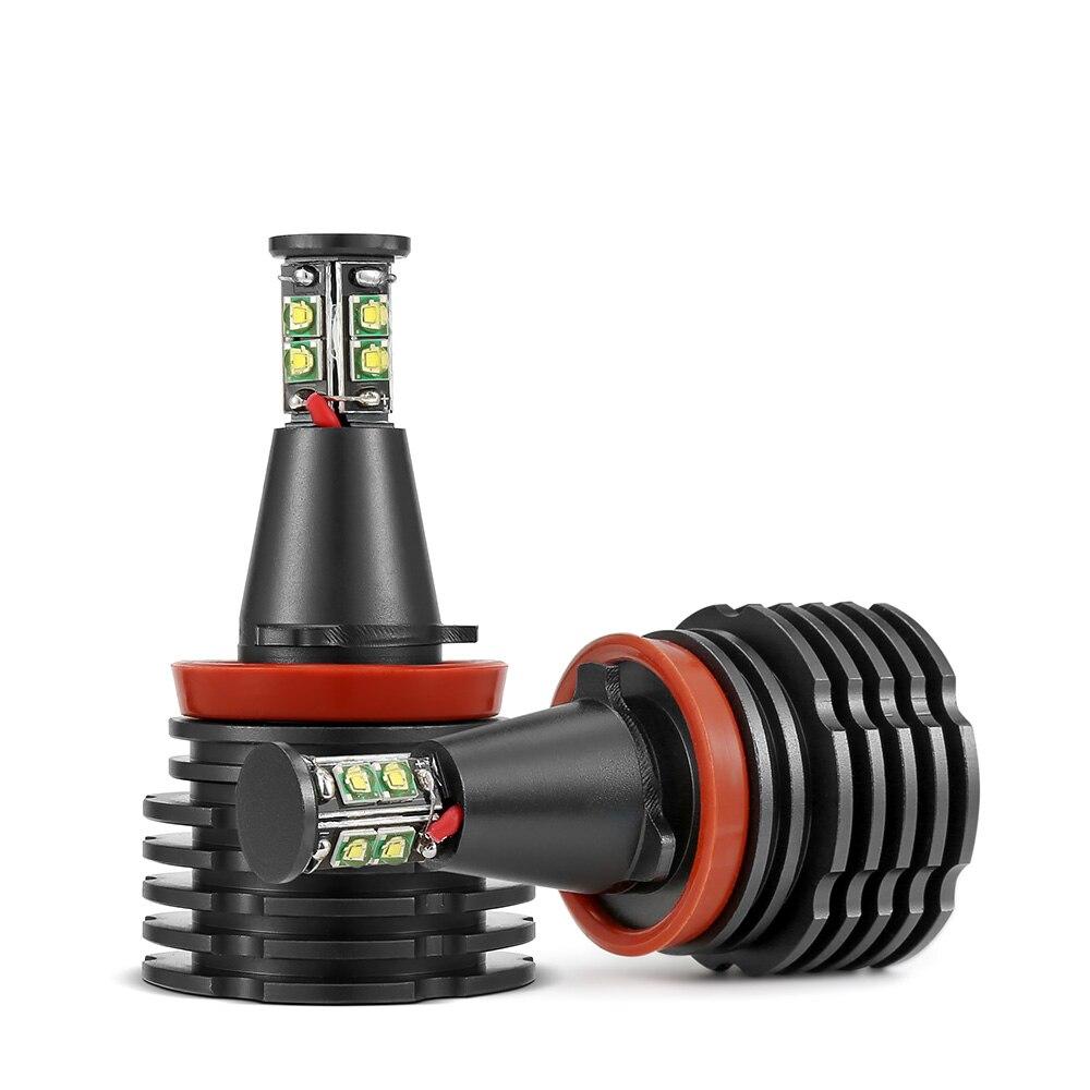 2 Pcs Car Angel Eyes Light Headlight Lamp White Fog Lights H8 Headlamps Led CANBUS Free For BMW E90 E92 E82 E60 E70 X5 E71 X6