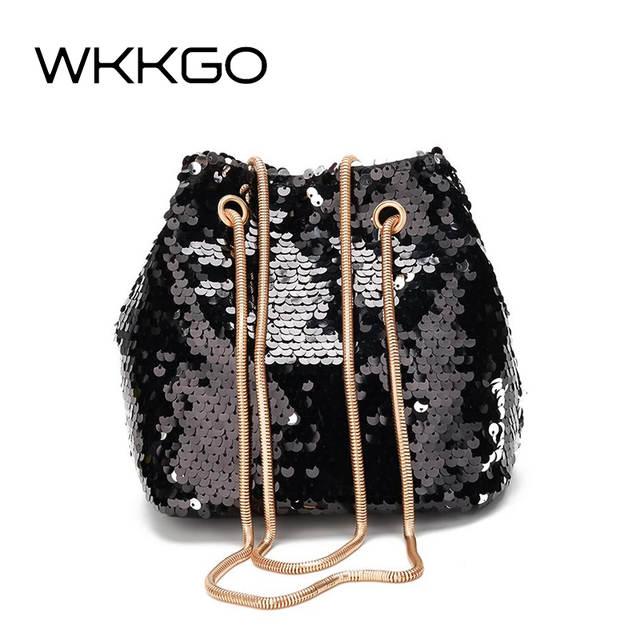 b3217f62f75f WKKGO Fashion Sequin Pack Chains Bucket Handbag Mini Evening Lady Clutch  Bags Party Joker Shoulder Messenger Crossbody Women Bag