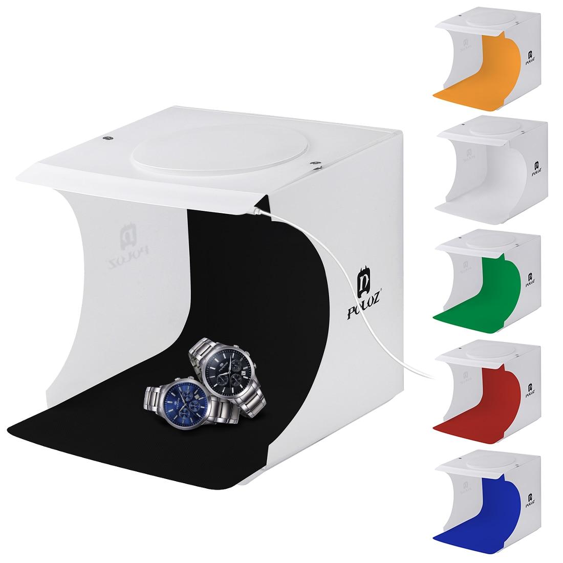 PULUZ Softbox Portable Foldable Design Mini Small Size LED Photography Studio Box Waterproof Soft Lightbox Kit for SLR Cameras