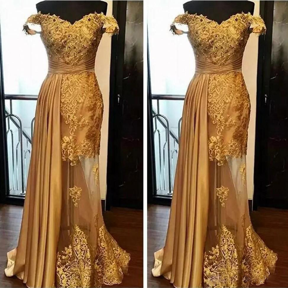 2018 Off The Shoulder Lace Long Prom Dresses Arabic Golden Tulle Applique Beaded Chic Evening Gowns