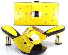 Neue ankunft afrikanische schuhe und passende tasche mit rhinestons italienische dame high heels pumps gelb size37-43! HRT1-20
