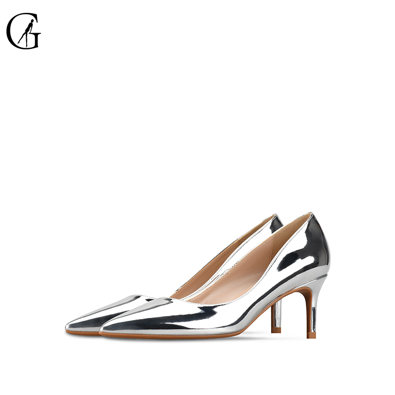 GOXEOU 2019 Women Pumps 6cm Thin Heel High Heels Sexy Pointed Toe Sequined Cloth Wedding Office Handmade Plus size  42