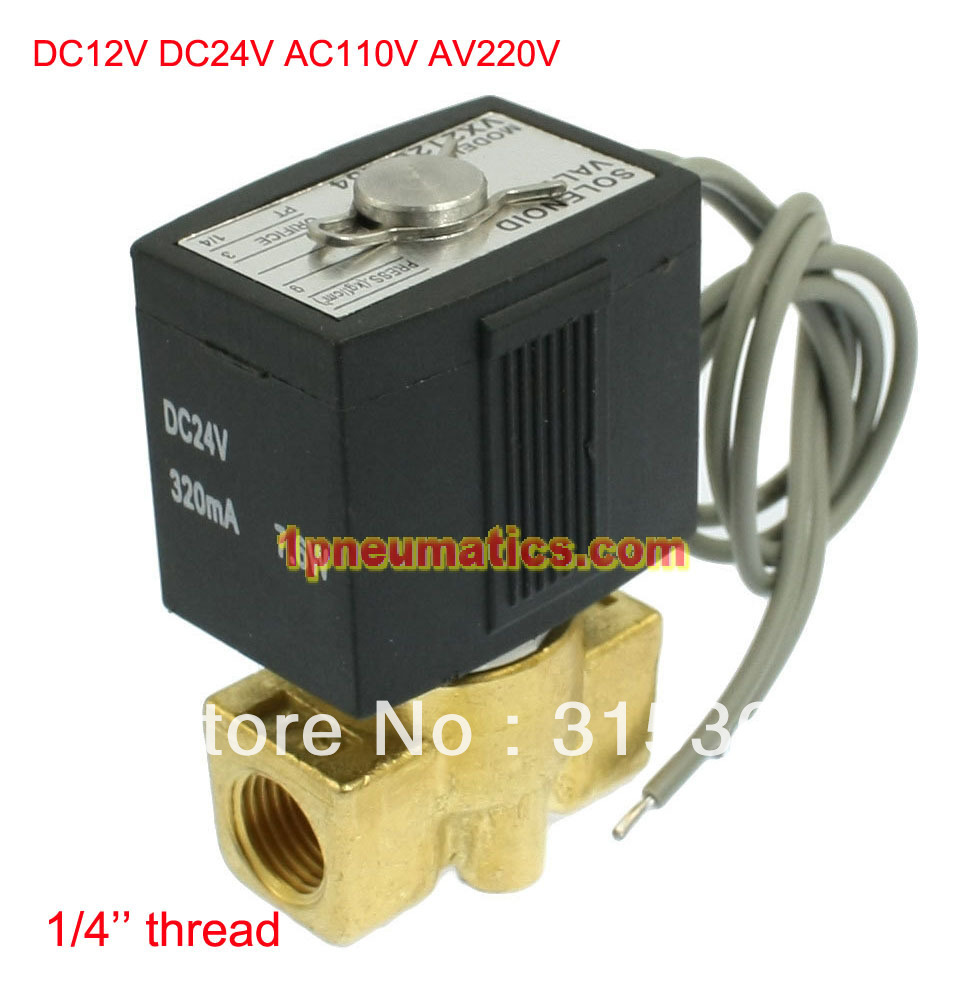 Free Shipping 1/4 Electric Solenoid Valve Air Gas Diesel B20N 12VDC DC24V/AC110V or AC220V Option VX2120-08
