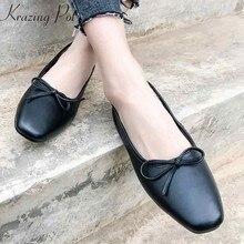 2061a8bdc3 Krazing pote 2019 pés quadrados de couro genuíno deslizar sobre sweety  borboleta-nó sapatos avó