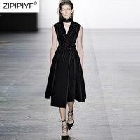 Высокое качество летнее женское платье 2018 Новая мода рукавов уличная Повседневное тонкий до середины икры Черный A Line платье Vestidos H5338