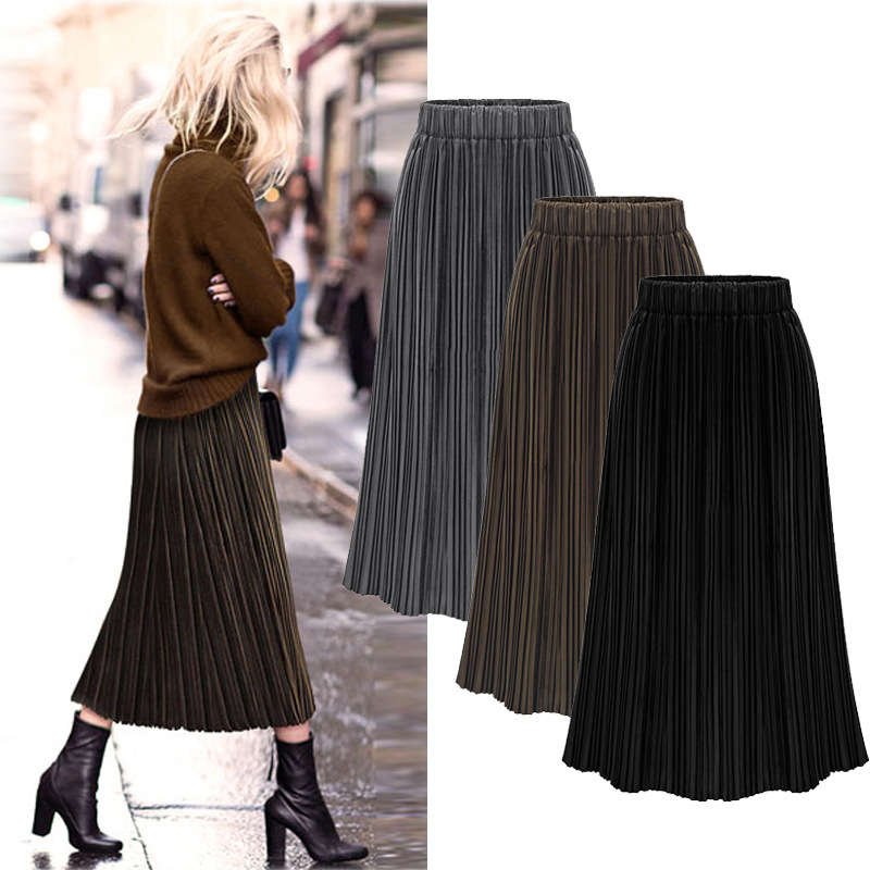 Gold Velvet Skirt Women M-5XL Plus Size 2018 Office Lady Skirts Solid Empire Pleasted Big Swing Skirt High Quality