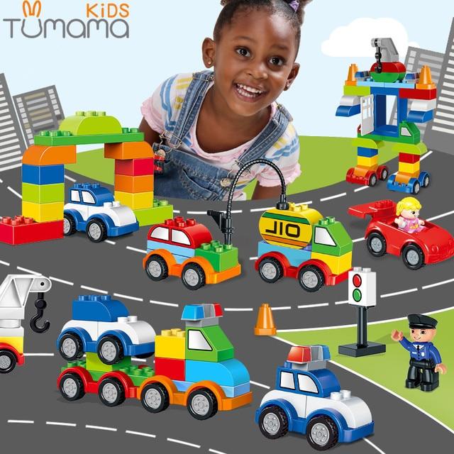 Tumama Big Size Building Blocks 53~125pcs Car Model Traffic Building Brick Compatible Legoed Duplo Large Size Educational Blocks