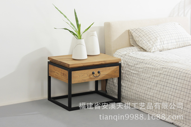 American Country Furniture, Wrought Iron Wood Side Tables