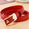Fashion Solid Belt for women 100% Genuine Cowhide Leather Split soft Leather belts female metal buckle strap red belts dress