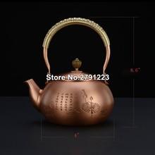 Tetera de cobre clásica hecha a mano tetera calentador de agua caliente de té tetera de fundición Vintage con tapa de cobre para hervir agua