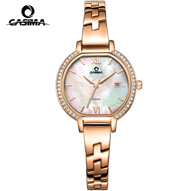 CASIMA Brand Women Watches Waterproof Fashion Casual Rose Gold Bracelet Quartz Ladies Wrist Watch Clock saat Relogio Feminino duoya fashion luxury women gold watches casual bracelet wristwatch fabric rhinestone strap quartz ladies wrist watch clock