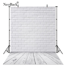 NeoBack 3x5ft Thin Vinyl Photography Backgrounds For Studio Photo Props White Brick Wall Wood Floor Photographic Backdrops P3082