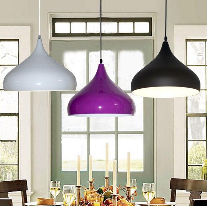 E27 Bulb Light Pendant Light Contemporary Contracted Aluminum Droplight Dining-room Lamp Single Head Lamp Creative Droplight