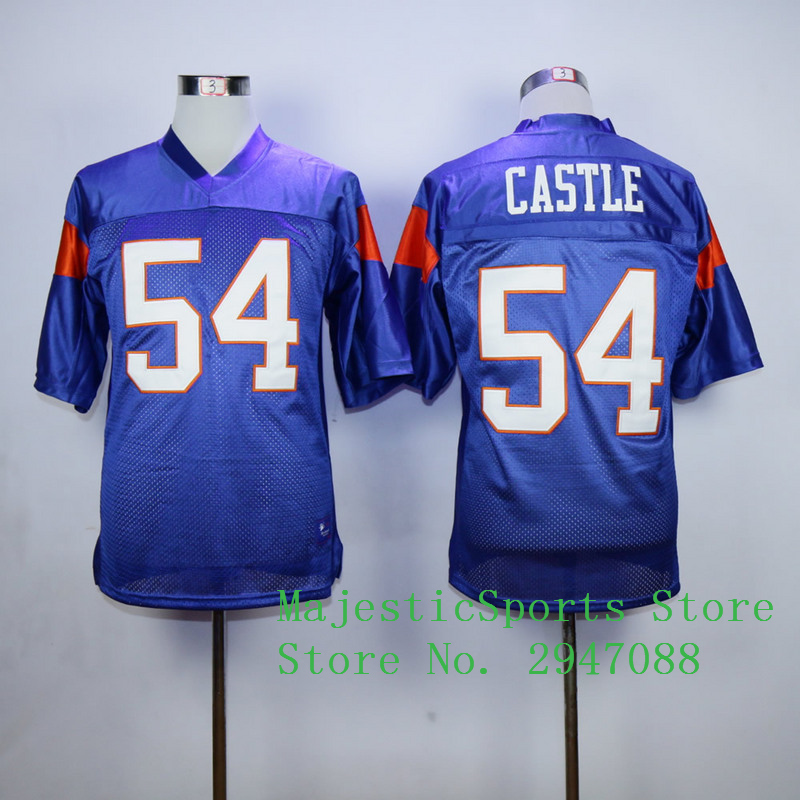 Blue Mountain State #7 Alex Moran 54 Thad Castle Stitched American Football Jersey Blue White M-3XL Free Shipping