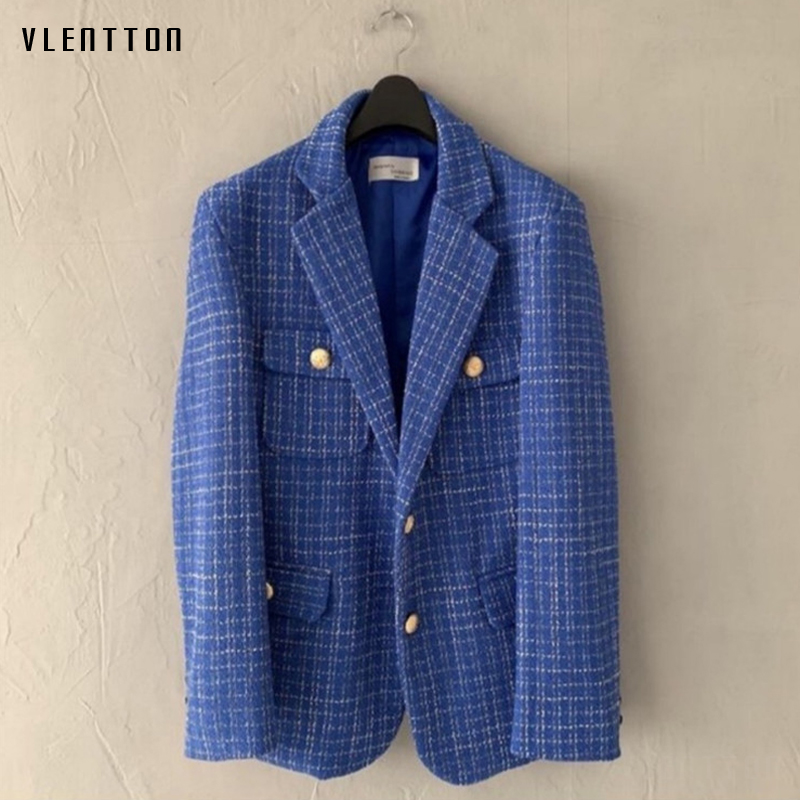 2020 Spring Autumn Women's OL Work Vintage Plaid Tweed Blazers Coats Chic Metal Button Office Suit Jackets Female Outwear Tops
