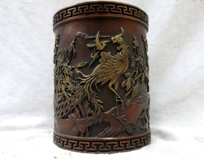 S01251 China pure red bronze fine workmanship many bird phoenix crane brush pot Statue (B0413)