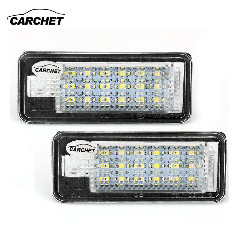 CARCHET LED Light 12V 1 Pair White 18 SMD LED License Plate Lights Lamps Bulbs for Audi <font><b>A3</b></font> A4 8E RS4 A6 RS6 High Quality 2017NEW