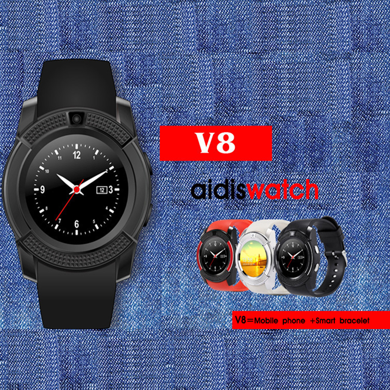AIDISBluetooth Smart Watch V8 Clock With SIM TF Card Sync Notifier Smartwatch For IOS Android Round Watch PK DZ09 GT08 Watches smartwatch gt08 smart watch bluetooth clock sync notifier support sim card bluetooth connectivity for ios iphone android phone