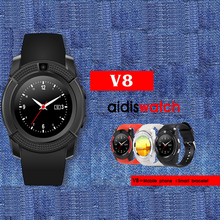 AIDISBluetooth Smart Watch V8 Clock With SIM TF Card Sync Notifier Smartwatch For IOS Android Round Watch PK DZ09 GT08 Watches
