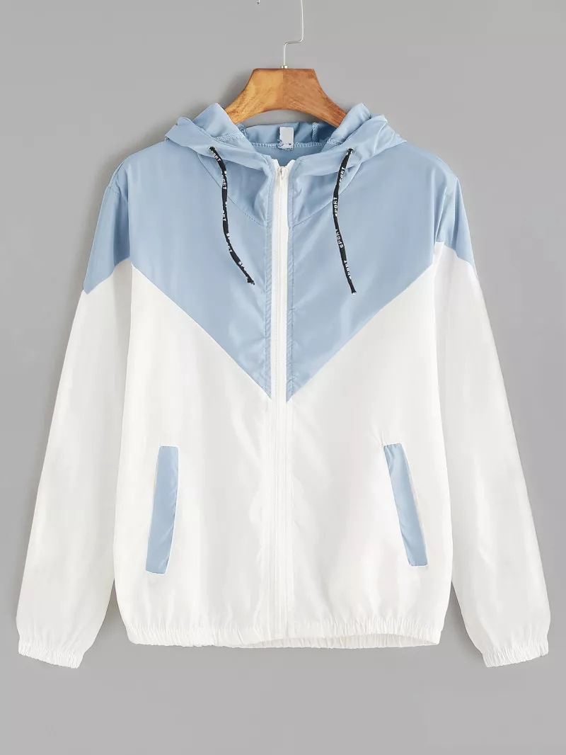 HTB1krNSNQvoK1RjSZFwq6AiCFXaf Europe and the United States in the summer 2018 women s clothing color matching elastic waist hooded jacket