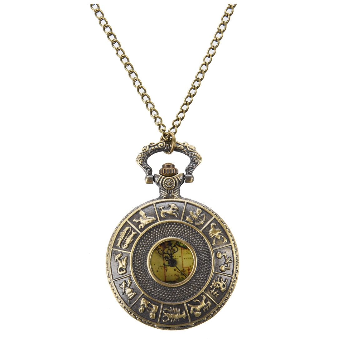 Vintage Old World Map Travelers Pocket Watch Necklace Gift on chain (Australia)