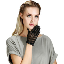 Women's sheepskin real leather gloves short design fashion lace butterfly genuin
