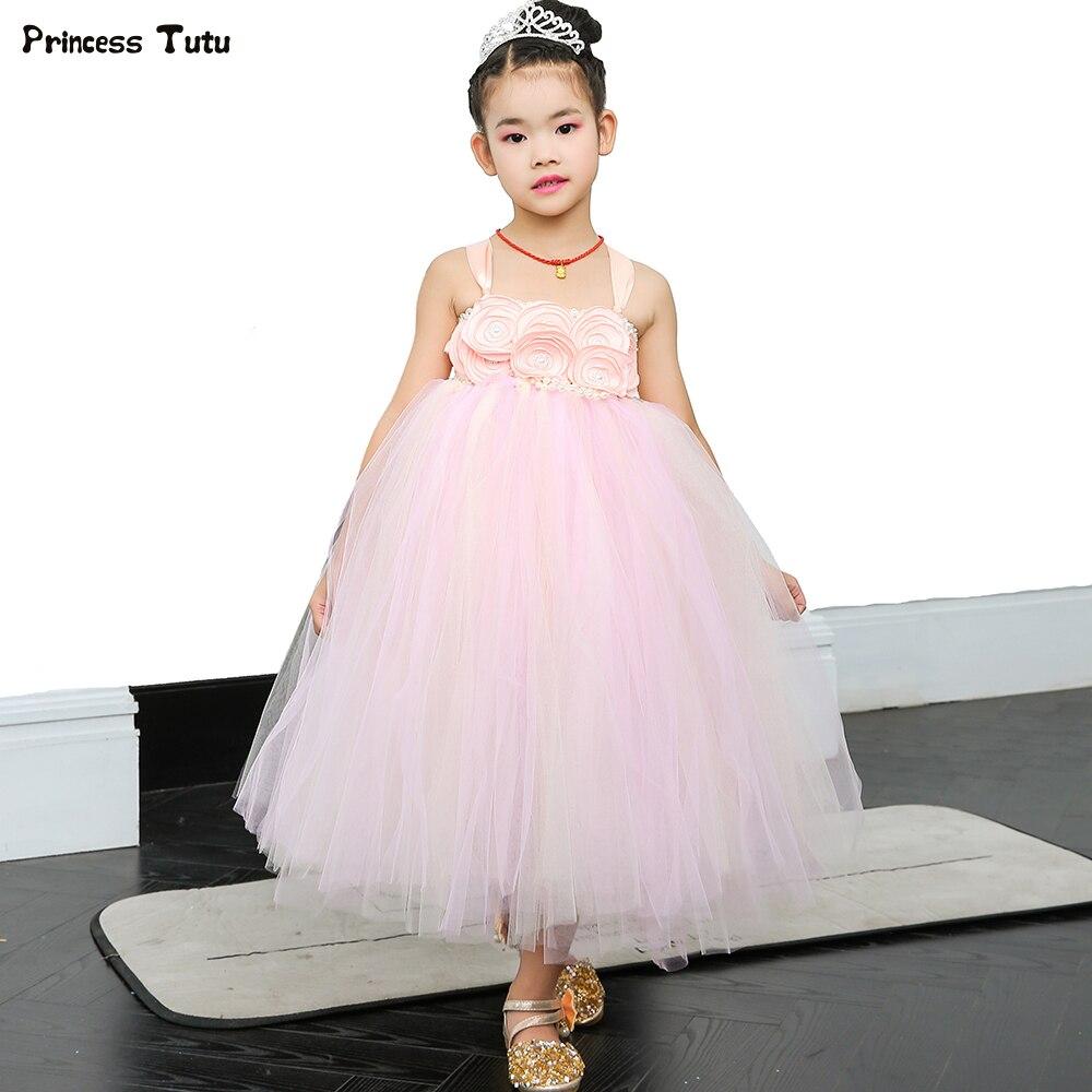 Pink Tulle Wedding Gown: Pink & Beige Flower Girl Tutu Dress Tulle Kids Dresses For