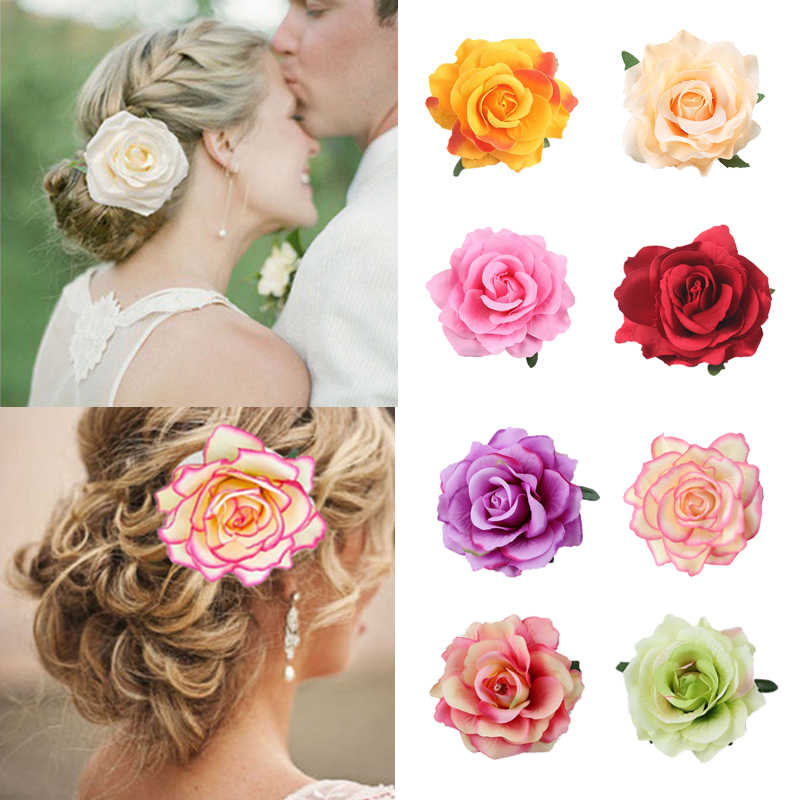 Boho Flower Hair Accessories For Women Bride Beach Rose Floral Hair Clips DIY Bride Headdress Brooch Wedding Flores Hairpin