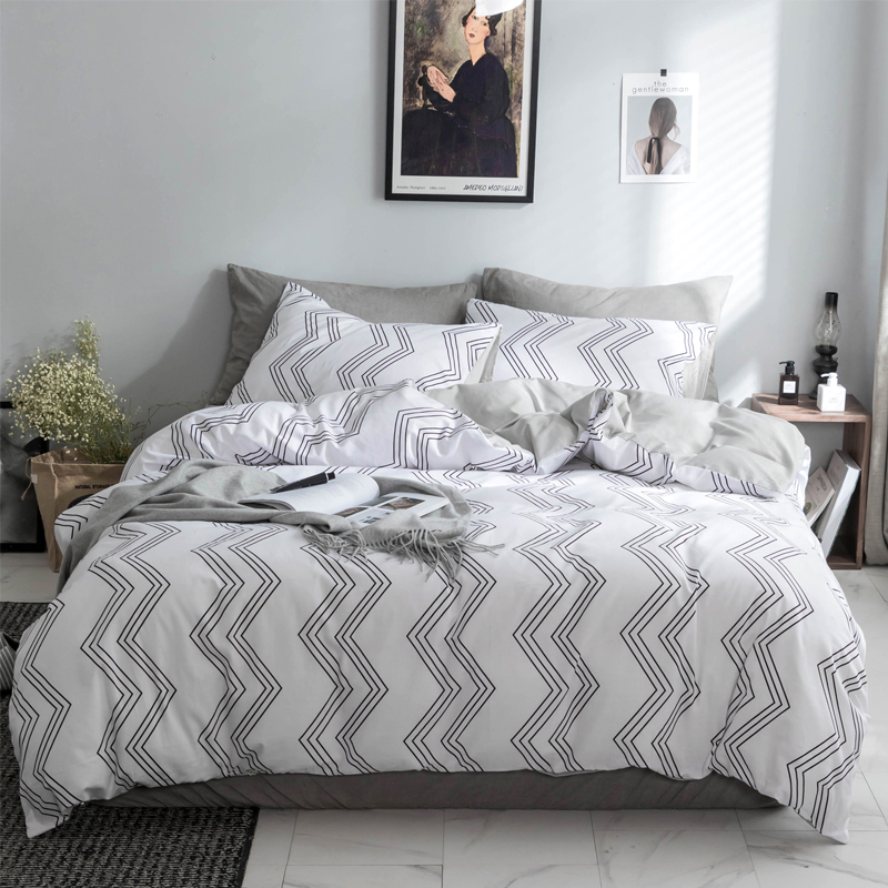 Black white Wave pattern Bedding Set 100% Cotton Duvet Cover Set ...