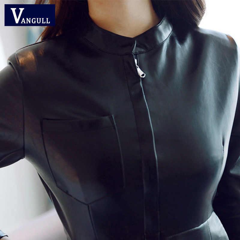 Vangull 2019 модное женское платье из искусственной кожи с воротником-стойкой и длинным рукавом, сексуальное платье на молнии, зимнее черное облегающее платье, весеннее платье