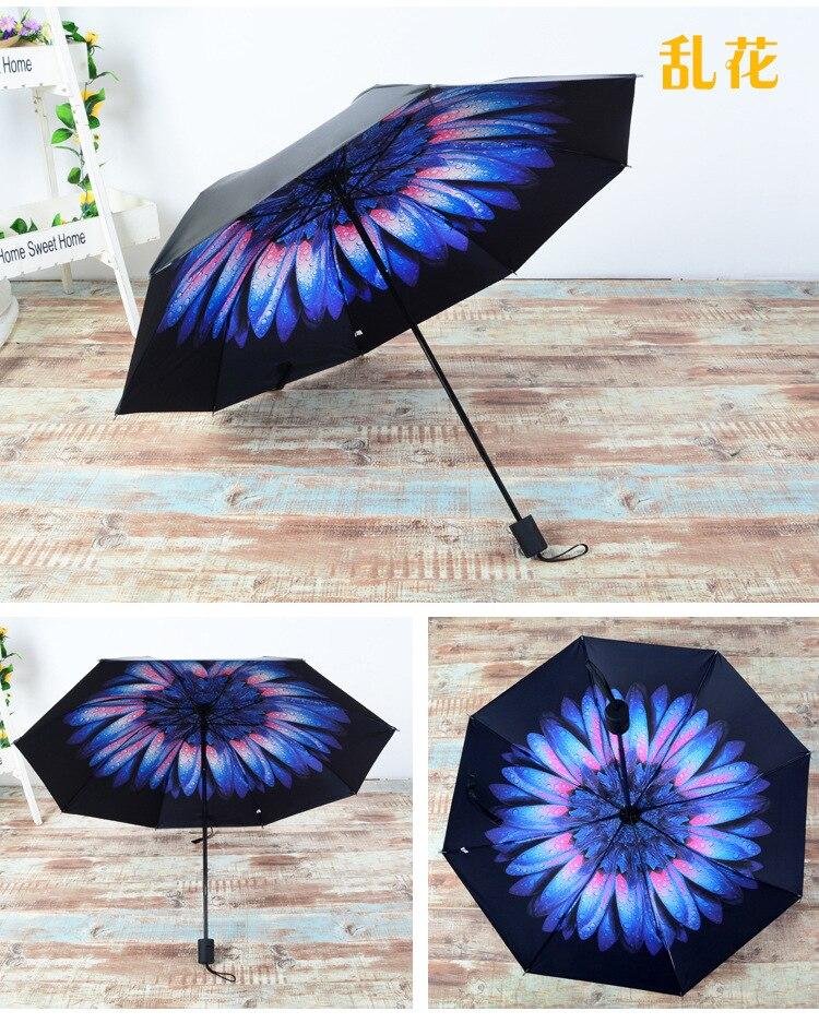 2017 New Arrival Summer Sun Fashion lady Three folding Black coating  compact Female male lady sunny rain anti-uv umbrellas - us560 434ab1bf55f