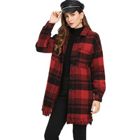Style office lady red plaid single button wool blend woman coat autumn spring chic tassel long sleeve female long coat