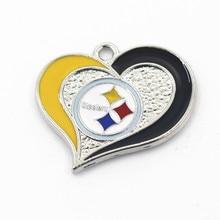 ФОТО hot sale 10pcs/lot metal sports  pittsburgh steele football team heart dangle charms for bracelet necklace diy jewelry