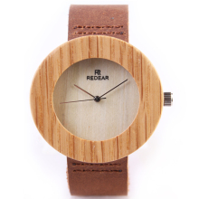 REDEAR Creative Maple Wood Quartz Watch for Women Men Wooden Watche Leather Band Luxury Japan Quartz Movement Watch relogio P25