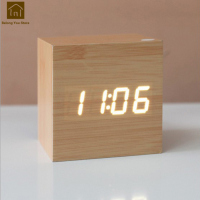 Smart Alarm Clock Led Creative Luminous Digital Bedside Wooden Electronic Desk Clocks Nixie Despertador Square Watch WKJ010