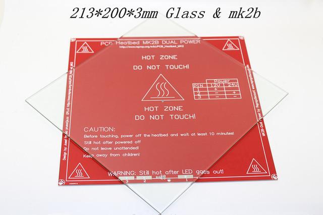 Vidro de Borosilicato para PCB Heatbed MK2B Reprap Prusa impressora 3D 213*200*3mm de aço + mk2b headbed