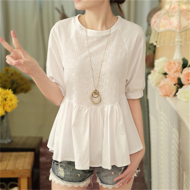 Summer Blouse Women Half Sleeves White Blouse Shirt O-neck Button Raglan Sleeve Hollow Out Casual Lady Tops ruffle blouse Cotton 3