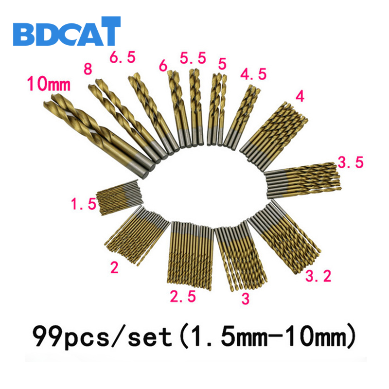 BDCAT 99pcs Titanium HSS Drill Bits Coated 1.5mm - 10mm Stainless Steel HSS High Speed Drill Bit Set For Electrical Drill Tools 6 pcs set countersink hss drill bit drill power speed out metal titanium coated bits tools set ali88