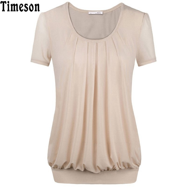 2017 Women Summer Short Sleeved T-shirt  Candy Color Plus size Casual Chiffon Tops Front Draped T-Shirt for Ladies Elegant Tshir