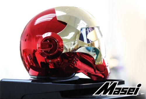 Masei बाइक स्कूटर मोटो इलेक्ट्रोप्लेट लाल गोल्डन आयरन मैन हेलमेट मोटरसाइकिल हेलमेट आधा हेलमेट खुला चेहरा हेलमेट केसोक मोटोक्रॉस