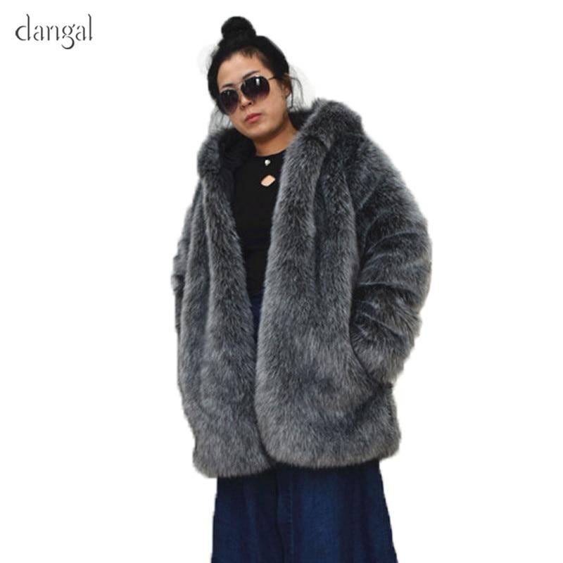 2018 Personnalisé En Gris Fausse Haute Coréenne Nouvelles Automne De Hiver Manteau Femmes Manches Chaud Qualité Fit Faux Fourrure Dangal HxdAf1A